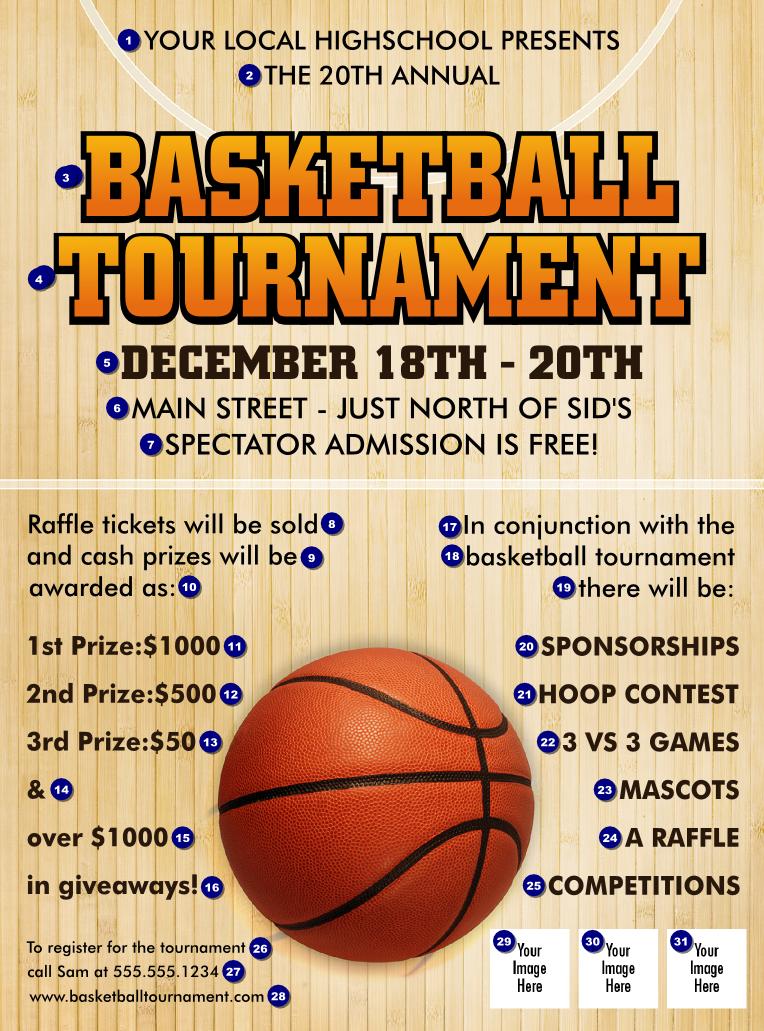 Basketball court flyer for Basketball tournament program template
