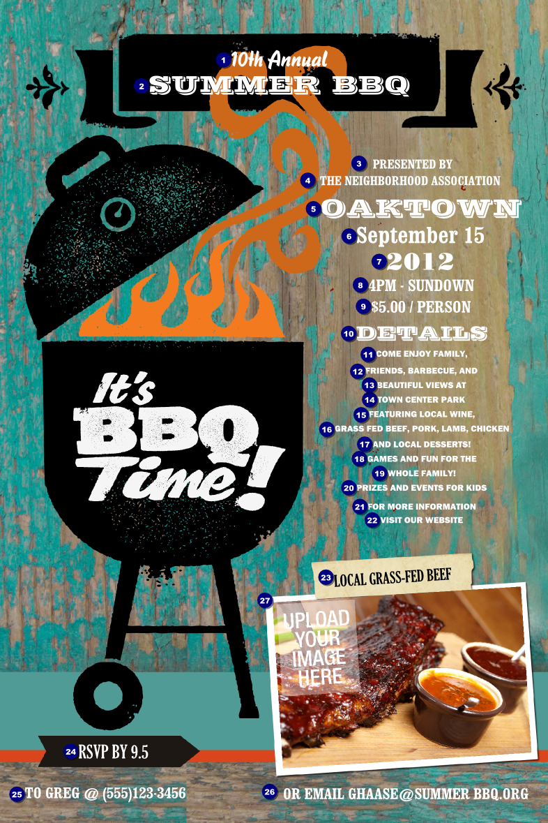 Bbq kettle grill poster for Bbq tickets template