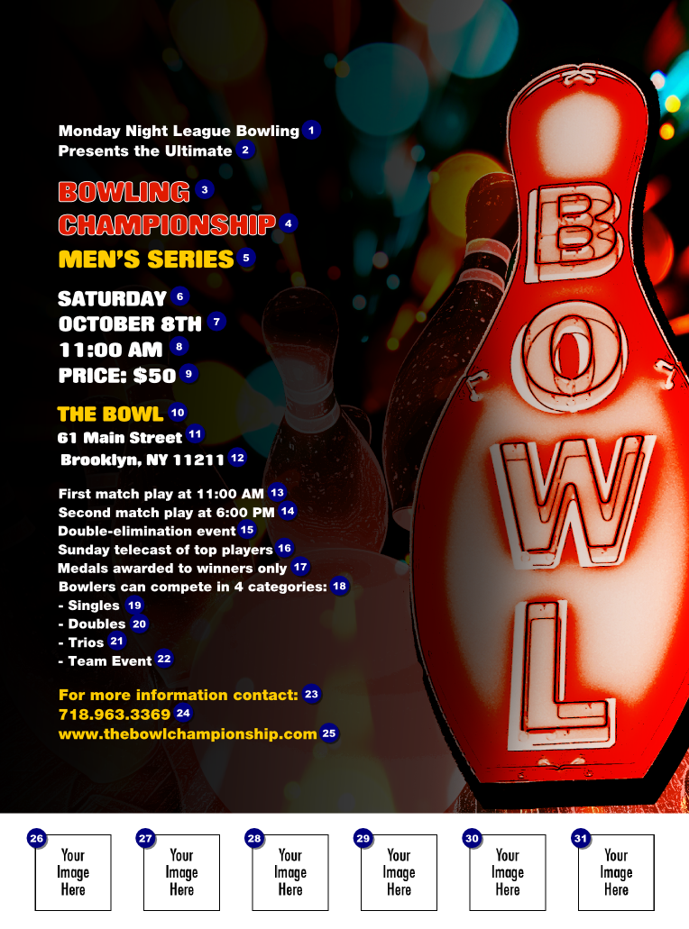 Bowling Flyer Template - Bowling event flyer template