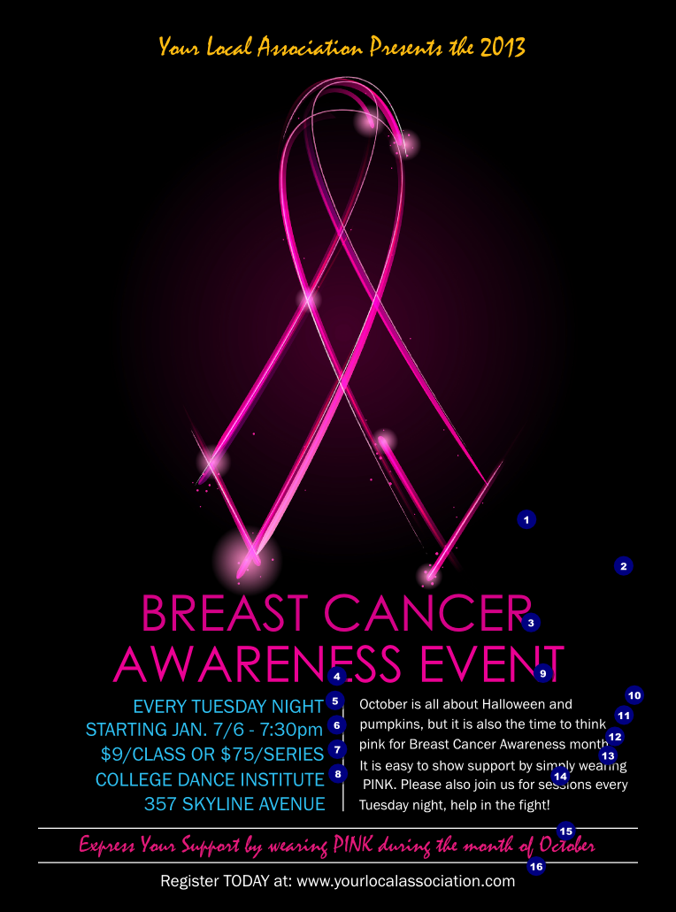 Breast Cancer Ribbon Sparkle Flyer Ticketprinting Com