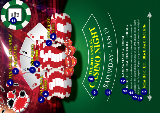 casino chips club flyer