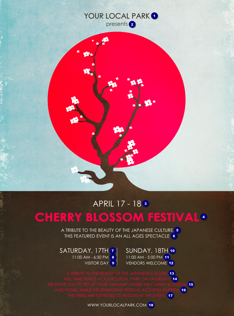 Cherry Blossom Circle Flyer Ticketprinting Com