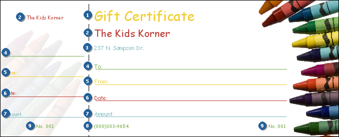 Perfect for kids, toy stores, and schools, a Crayon Gift Certificate