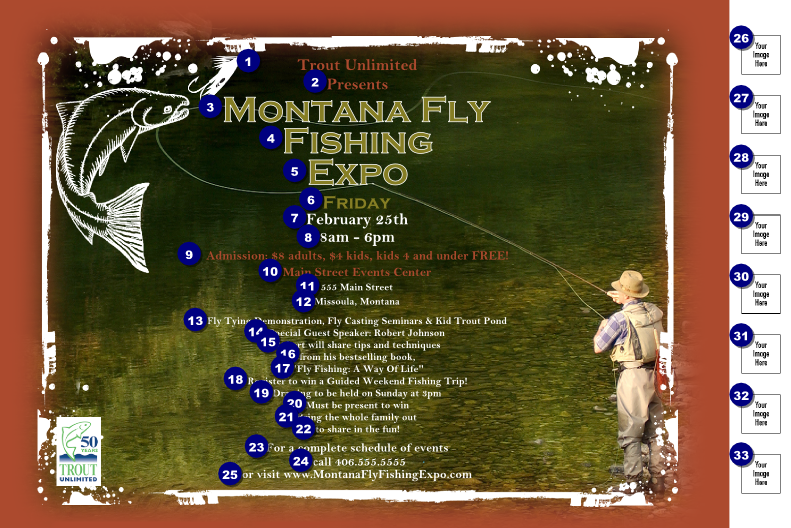 1 in ticket design printing for for Fly fishing posters