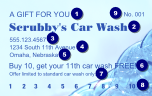 free car wash ticket template - bubble gift card