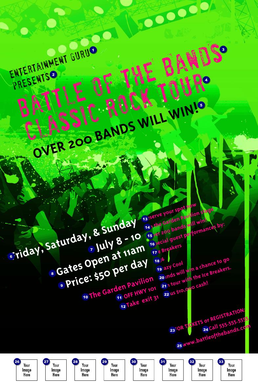 Rock Concert Green Poster | TicketPrinting.com