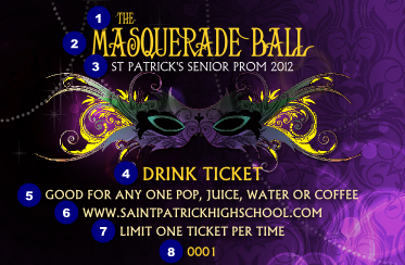 Masquerade Ball Drink Ticket Ticketprinting Com