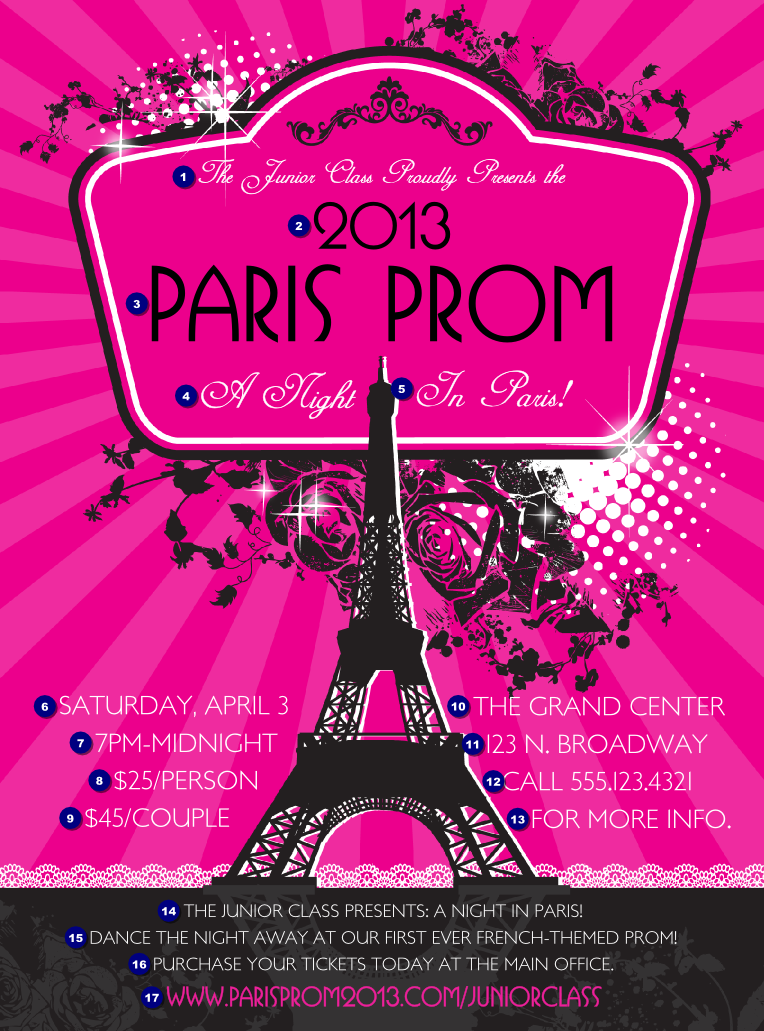 paris pink and black flyer