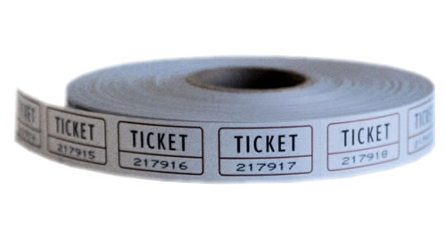 Single Roll Tickets White