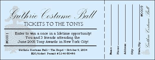 TicketPrinting.com  Ball Ticket Template