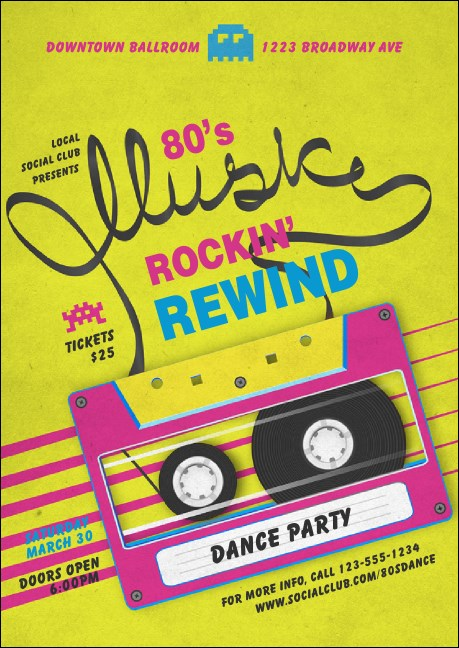 80s Music Club Flyer Product Front