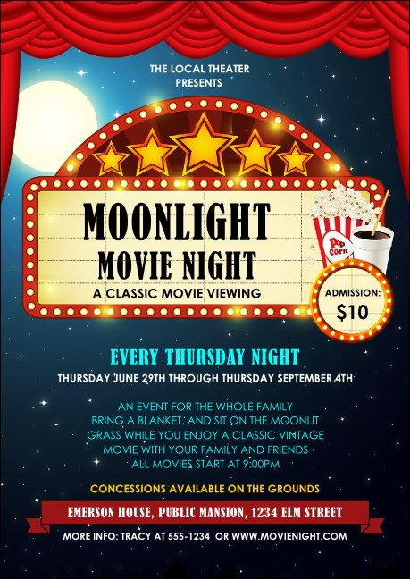 Movie Night Club Flyer