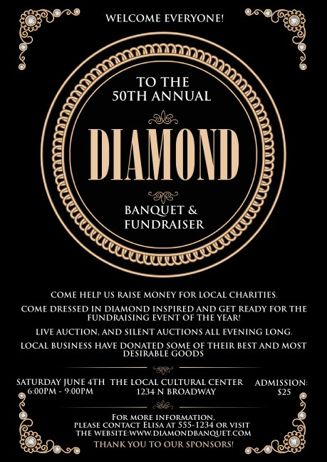 Diamonds Black Club Flyer