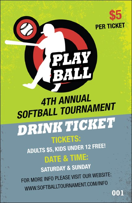 Softball Drink Ticket Product Front
