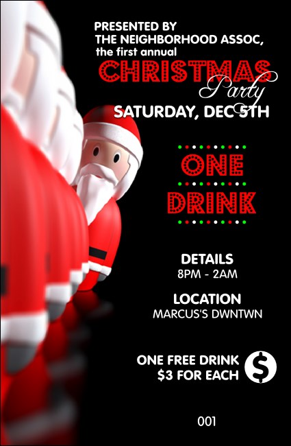 Santa Lineup Drink Ticket Product Front