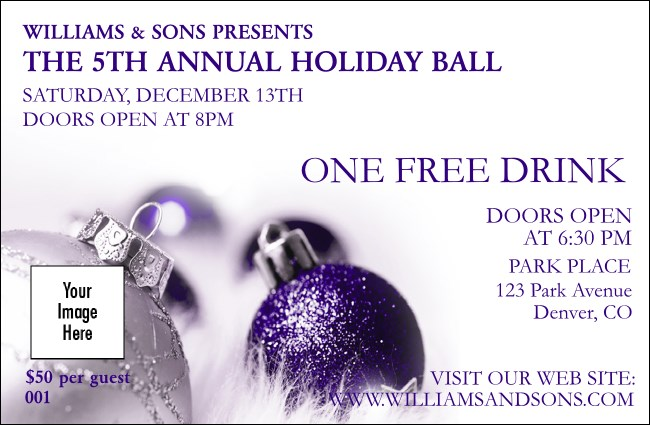 Christmas Ornament Purple Drink Ticket