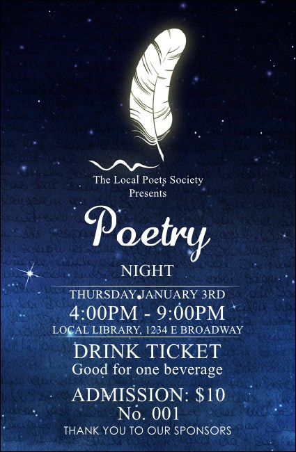 Poetry Quill Drink Ticket