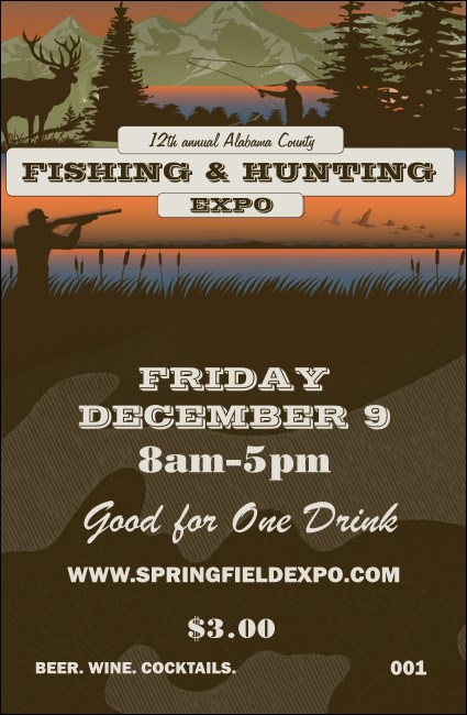 Fishing and Hunting Expo Green Camo Drink Ticket