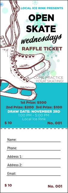 Ice Skating Raffle Ticket Product Front