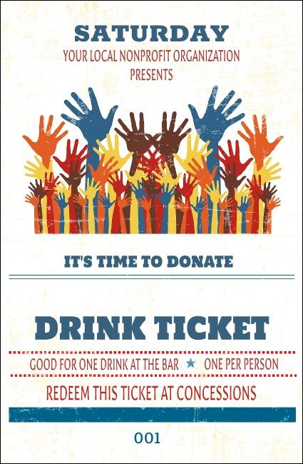 Fundraising Hands Drink Ticket