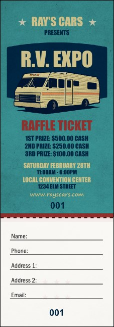 RV Expo Raffle Ticket Product Front
