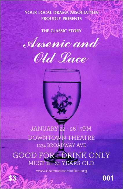Arsenic & Old Lace Drink Ticket