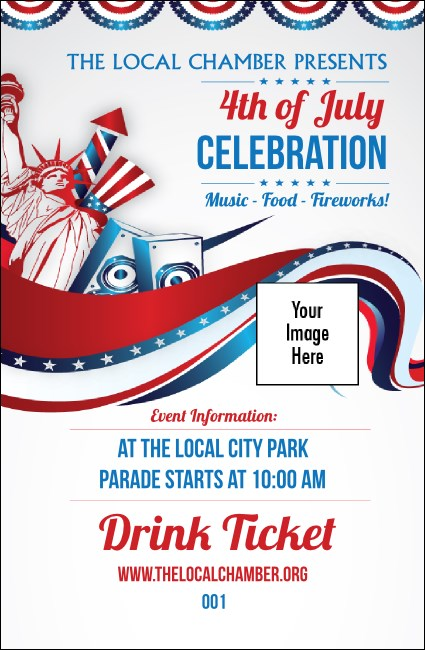Fourth of July Freedom Drink Ticket Product Front