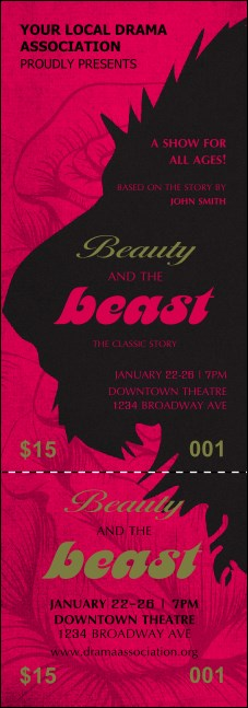 Beauty and the Beast Event Ticket Product Front