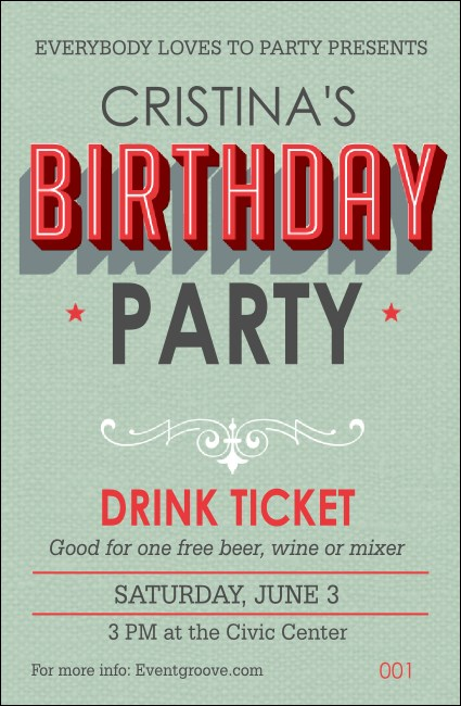 Birthday Party Green Drink Ticket Product Front
