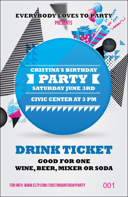 Birthday Party Geometric Drink Ticket Product Front