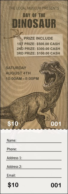 Dinosaur Illustrated Raffle Ticket