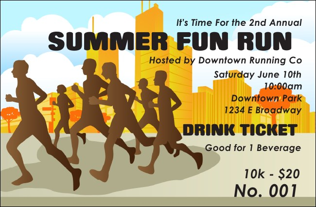 Fun run drink ticket for Fun run certificate template