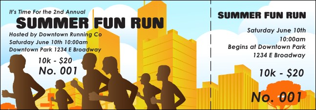 Fun run event ticket for Fun run certificate template