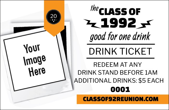 Class Reunion Mascot Orange Drink Ticket Product Front
