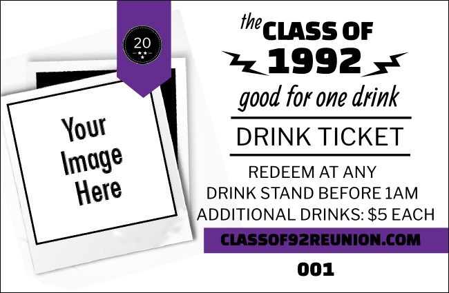 Class Reunion Mascot Purple Drink Ticket