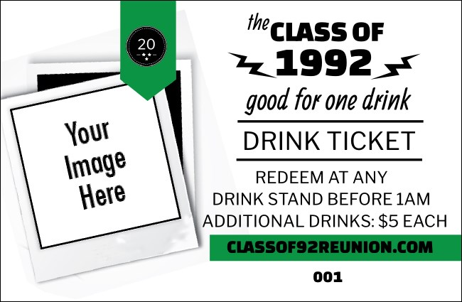 Class Reunion Mascot Green Drink Ticket Product Front