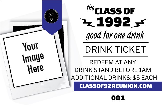 Class Reunion Mascot Blue Drink Ticket Product Front