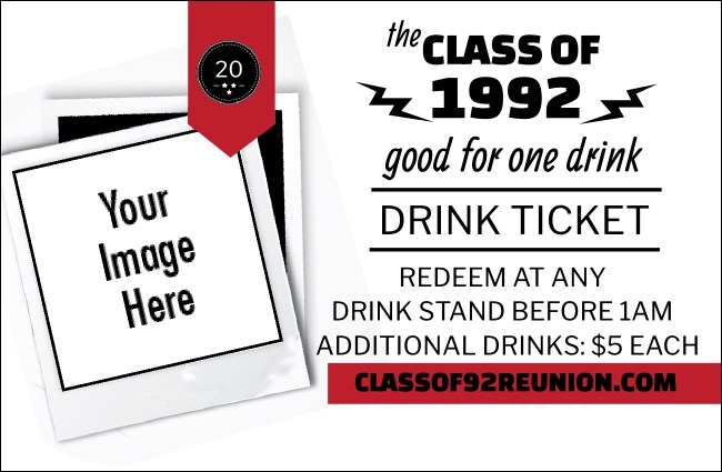 Class Reunion Mascot Red Drink Ticket