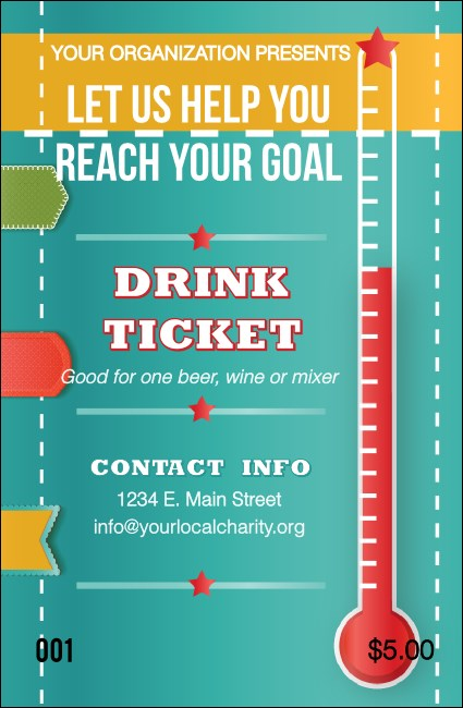 Fundraising Thermometer Drink Ticket