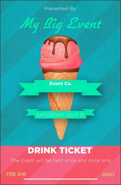 Ice Cream Drink Ticket Product Front