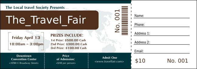 Airline Raffle Ticket Product Front