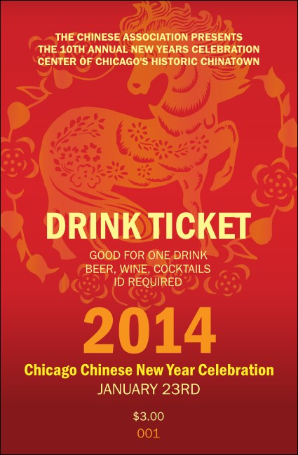 Chinese New Year Horse Drink Ticket