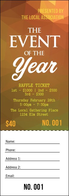 Orange Geometric Raffle Ticket Product Front