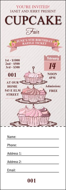 Cupcake Raffle Ticket Product Front