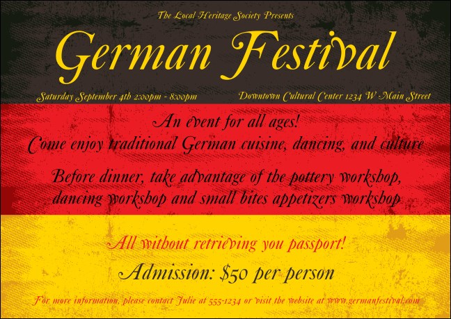 German Flag Postcard Product Front