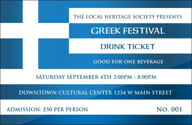 Greek Flag Drink Ticket