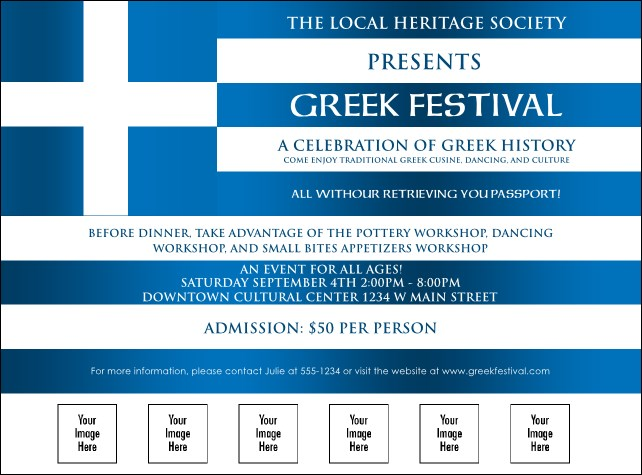 Greek flag logo flyer for Greek flag template