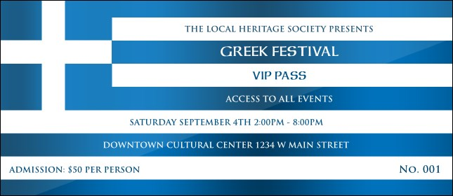 Greek Flag VIP Pass Product Front