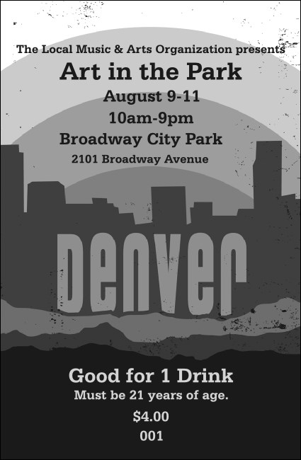 Denver BW Drink Ticket Product Front