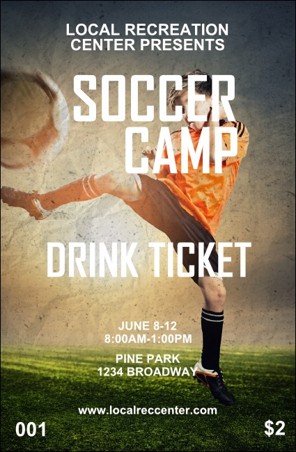 Soccer Camp Drink Ticket Product Front